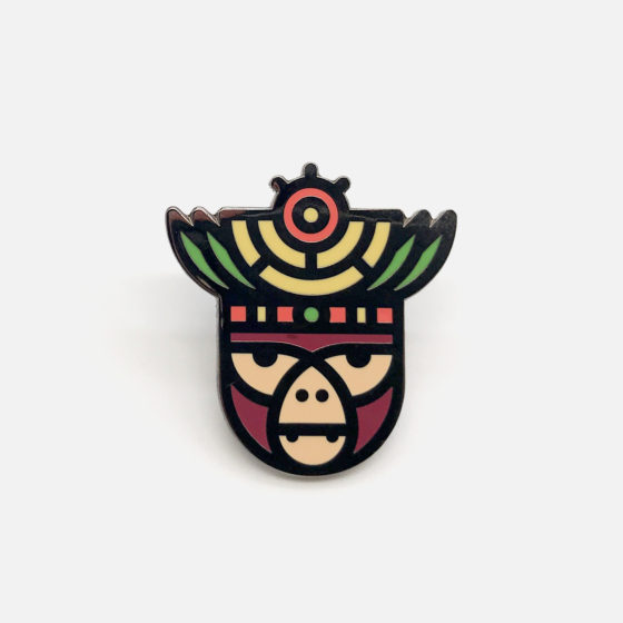 Monkey Enamel Pin, Locking Back, Shaman Pin, Gun Metal Gift, Aztec Badge, Mayan Jewelry, Geometric Head, Hard Enamel Gift